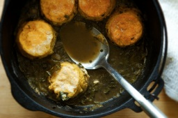 Gumbo Z'herbes with Yeasted Corn Biscuit Dumplings