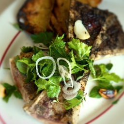 Grilled Marrow Bones with Chimichurri Salad