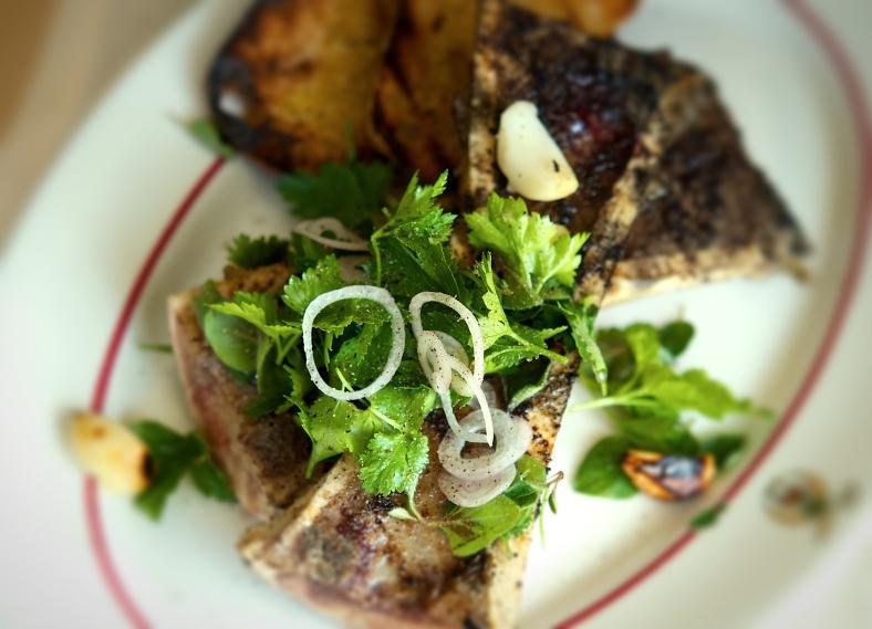 Grilled Marrow Bones with Chimichurra Salad