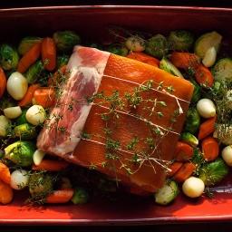 Barded Pork Rib Roast with Fall Vegetables