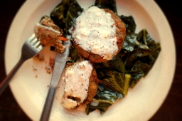 Pot Roasted Collards and Purple Hull Pea Fritters with Spicy Buttermilk Gravy