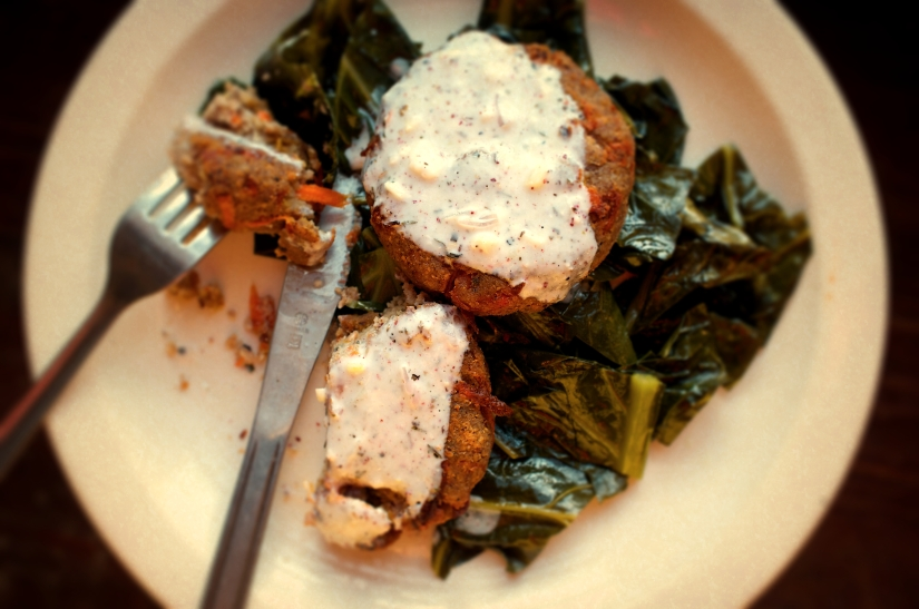 Pot Roasted Collards and Purple Hull Pea Fritters with Spicy ButtermilkGravy