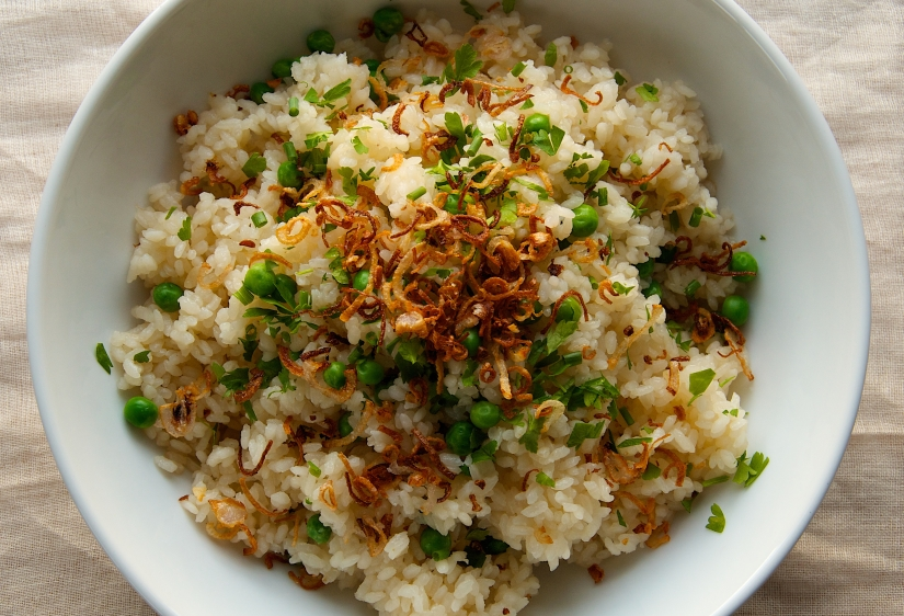 Peas and Rice with CrispyShallots