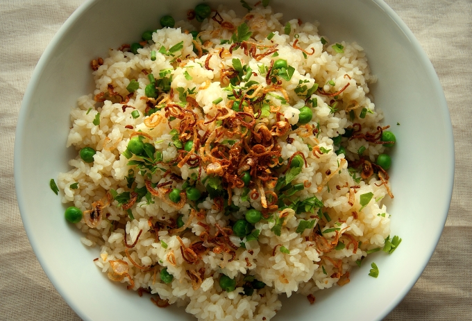 Rice and Peas with Crispy Shallots