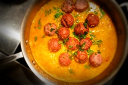 Lamb Meatballs with a Broken Yogurt Saffron Sauce