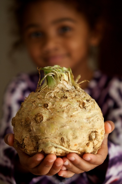 Lynnie with celery root
