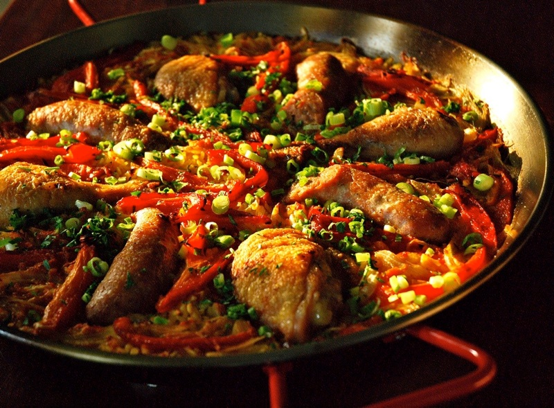 Chicken, Sausage and Red Pepper Paella
