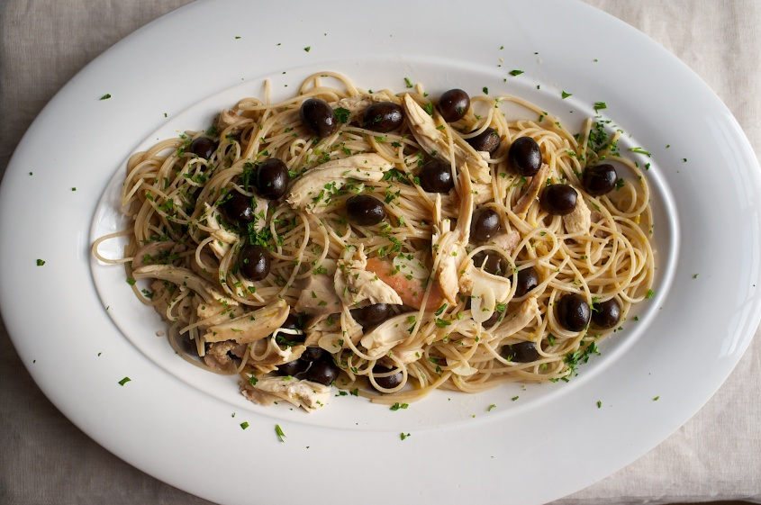 Spaghetti with Chicken, Black Olives, Lemon and Au Jus
