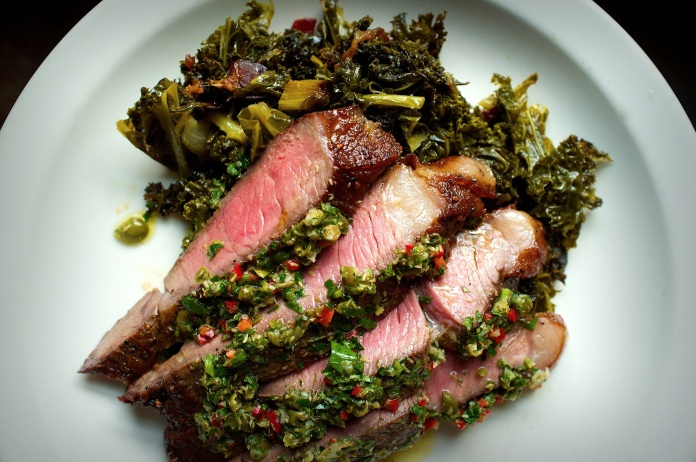 Grilled Sirloin with Italian Salsa Verde