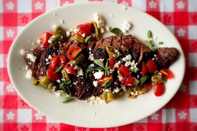 Skirt Steak with Greek Salsa