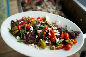 Skirt Steak with Greek Salsa