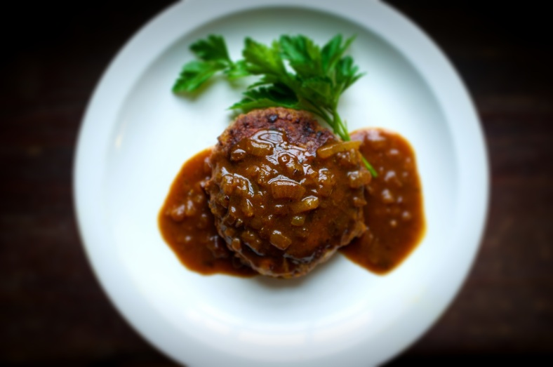 Japanese Chopped Steak with Onion Curry Gravy