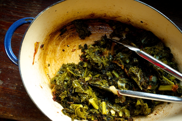 The caramelized smear on the bottom of the pot is an indication you collards are cooked perfectly.