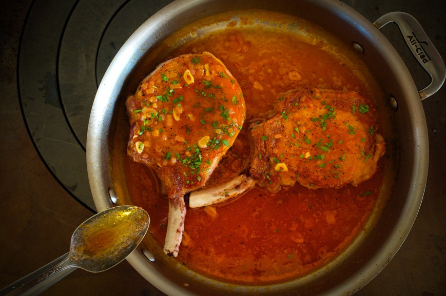 Farmhouse Chops in Wing Sauce