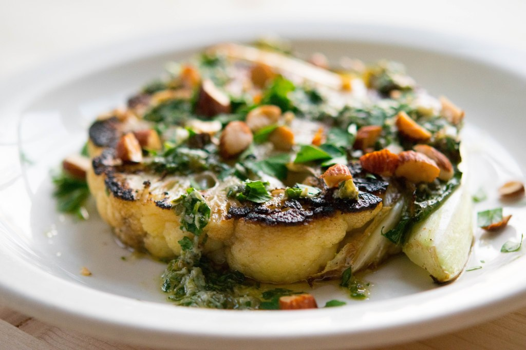 A Real Winner: Seared Cauliflower Steaks with Salsa Verde and