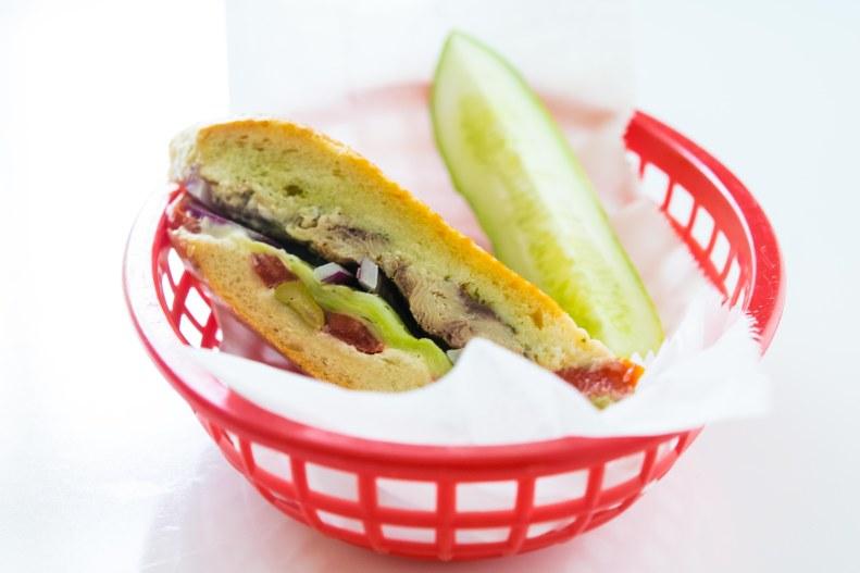 sandwich, french, sardines, vegetables, summer