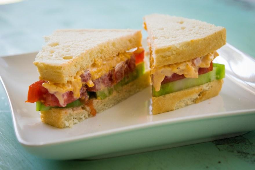 pimento and mixed tomato sandwich