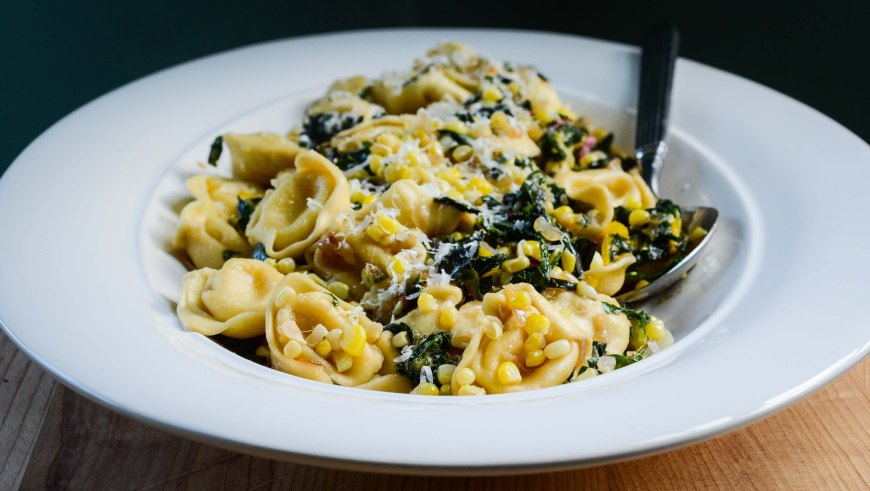 Tortellini with Swiss Chard and Sweet Corn